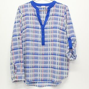 Pixley Bright Blue Plaid Popover Tunic Top
